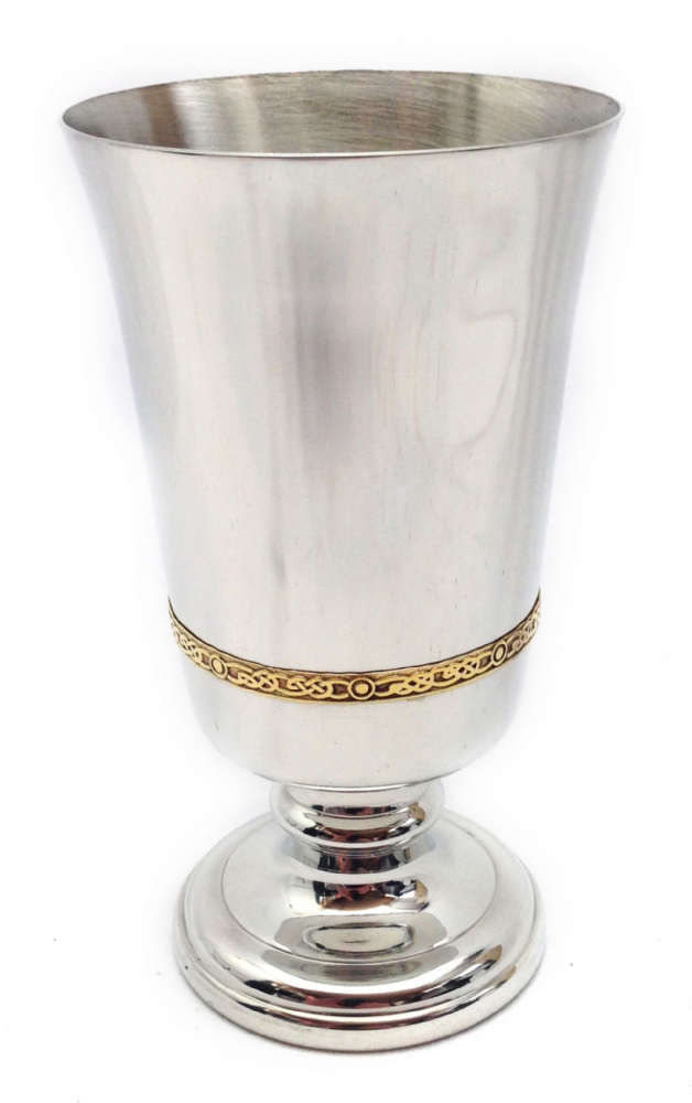 "Medieval Pewter Goblet with Brass Band 6"" 280ml - Made in Britain - Perfect Mens Womens Keepsake"